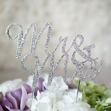 MR and MRS Silver Crystal Cake Topper Bride and Groom Wedding Bling Cake USA