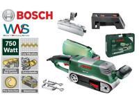 Bosch PBS 75 AE Bandschleifer im Koffer + 2x Schraubzwinge + Anschlag + Halter