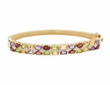 Amatista, Granate, Citrino & Peridot Brazalete Con Diamantes En Plata Con Chapado en Oro