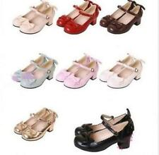 Chic Womens Buckle Med Heels Lolita Mary Janes Cosplay Strap Block Bowknot Shoes