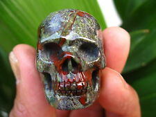 34g RARE Carved NATURAL dragon blood stone crystal SKULL RING healing