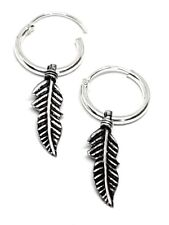 Feather Hoop Earrings Real 925 Silver Feather Charm Sterling Silver Piercing