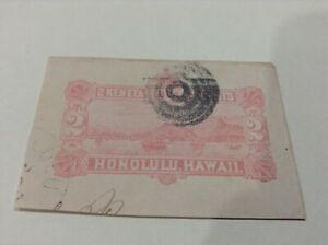 Hawaii ,2 CENT Red, view of Honolulu Bay, cut out, Small Bullseye cancel