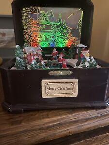 Retro Boîte à musique Village De Noël Animé Lumineux Vintage Christmas Music Box