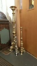 "40"" Church Pillar Candle Holder Stick Raw Brass Plated Baroque Design Italian"