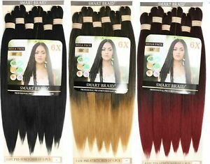 """SMART BRAID 6X MEGAPACK 28"""" Pre-Stretched,Pre-Plucked,Pre-Pulled Braiding Hair"""