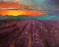 Original Impressionist Jeff Barnes 20x16 Acrylic Painting Lavender Field Sunset