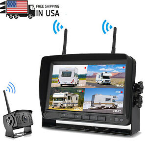 Wireless HD Backup Camera  Waterproof 7'' LCD Monitor Kits Rear view For Bus RV