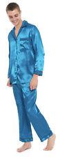 Hombre Pijamas de Satén Verde Azulado Turquesa Azul Marino Tradicional Abotonado