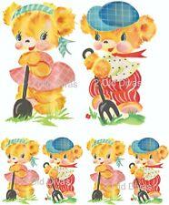 1930s Vintage Redo Baby Bears Gardening Laser Printed Decals