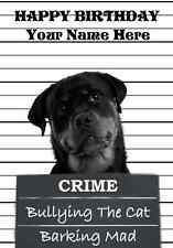 Rottweiler  A5 Personalised Happy Birthday Greeting Card  PIDROT1 dog design