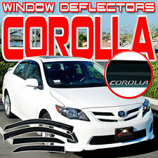 Corolla 08-13 E140 4 Door Side Window Vent Visors Sun Rain Deflectors with Logo
