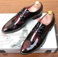 Men's Casual Pointed patent Leather Lace Up Wedding Formal Dress Shoes Oxfords