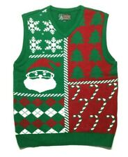 Ugly Christmas Sweater Vest Size XL Red Green Tree Candy Cane Santa Snowflake