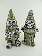 Scary Garden Gnome Couple Zombie Halloween Outdoor Decor 8 inches Tall Concrete