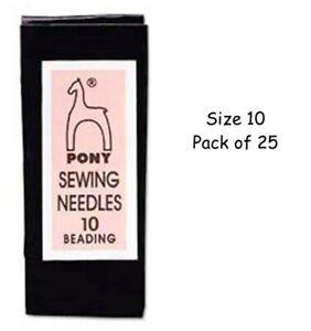 Pony Beading Needles Size 10 Qty 25 Needles Bead weaving seed beads FREE UK SHIP