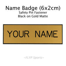 Name Badge Tag Plate Pin Gold Matte Personalised Engraved Employee Custom 6x2cm
