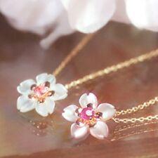 MAIKO SAKURA Cherry Blossom K10 Pink Gold necklace Ruby /Tourmaline shellpendant