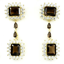 Natural Octagon 10x8mm Top Smoky Quartz &Cz 925 Sterling Silver DANGLE Earrings