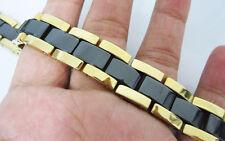 black ceramic&Yellow Gold Tungsten link Men Bracelet Magnetic Energy stone TC15