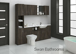 MALI WENGE BATHROOM FITTED FURNITURE 2100MM WITH WALL UNITS