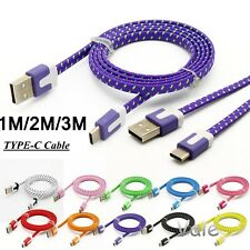 1M 2M 3M Braided Flat Nylon USB-C 3.1 Type C To USB 3.0 Date Sync Charger Cable
