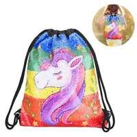 Glitter Sequin Unicorn Drawstring Backpack School Sports Bag Reversible Rucksack