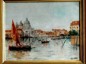 Ecole Française XIXème Eugène F.Tourette Huile sur toile vue de Venise 55x44 cm