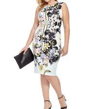 Julian Taylor Sleeveless Scuba Knit Midi Shift Dress In Blossoming Floral SZ 14W