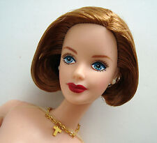 Barbie Doll NUDE Short Strawberry Blonde Hair W/ Blue Eyes, Cross Necklace NEW!
