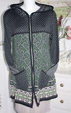 Lily White  Strick-Mantel Coat Floral Print Green/Black Collar size:1/38-40 Neu