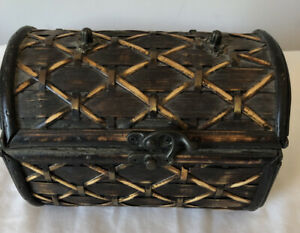 Small Wicker Wood Trunk Storage Chest Table Top Home Decor