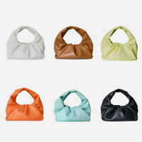 Mini Small Real Leather Ruched Shoulder Pouch Tote Bag Hobo Clutch Purse Summer