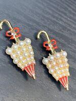 Vintage Shower Gift umbrella pearl rhinestone Red Enamel  Brooch Pin Set Of Two