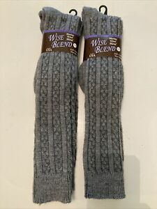 Wise Blend Merino Wool Cable Knit Knee High Boot Socks Women's (6-9) 4 Pairs
