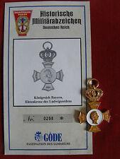 GÖDE Orden KÖNIGREICH BAYERN EHRENKREUZ DES LUDWIGSORDENS ZERTIFIKAT Nr.0298