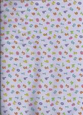 new lavender 100% cotton fabric with numbers by the 1/2 yard
