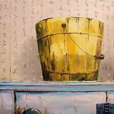 ORIGINAL Blue Primitive Pail  OIL Painting JMW art John Williams Impressionism