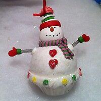 Snowman Candy Cupcake Christmas Tree Ornament