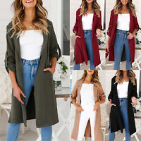 Womens Long Trench Coat Jacket Parka Windbreaker Open Front Cardigan Outwear Top