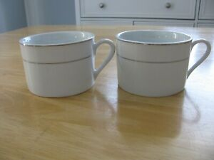 Set of 2 Essential Home Coffee/Tea Cups White with Silver Color Trim