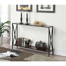 Console Tables For Entryway With Storage Shelf Modern Criss Cross Narrow Accent