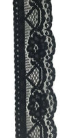 Vintage Floral Lace Trim In Black - Polyester 40mm Scallop Per 2mtrs