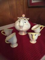 Vintage Rare Disney Beauty & The Beast Mrs Potts Teapot Complete Set With 4 Cups