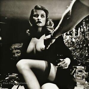 1989 Vintage HELMUT NEWTON Semi Nude Female Model Breast Duotone Photo Art 12X16