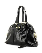 YSL Authentic Saint Laurent Patent Leather Muse Medium Bag Dome tote black