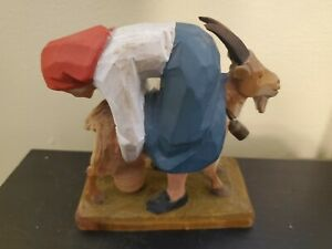 Vintage Henning hand carved Made in Norway Maid Milking Goat