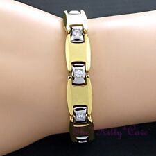 Magnetic Tungsten Arthritis Joint Pain CTS RSI Unisex Crystal 24K Gold Bracelet