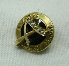 1960's Unusual 9ct Gold And Pearl Avon Highest Honour Brooch