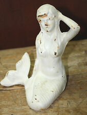 Cast Iron Antique Style Nautical Mermaid Statue Garden Pond Pool Doorstop WHITE